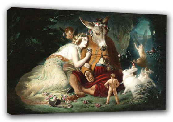Landseer, Sir Edwin: Scene from Shakespeare's A Midsummer Night's Dream. Titania and Bottom. Fine Art Canvas. Sizes: A3/A2/A1 (00117)